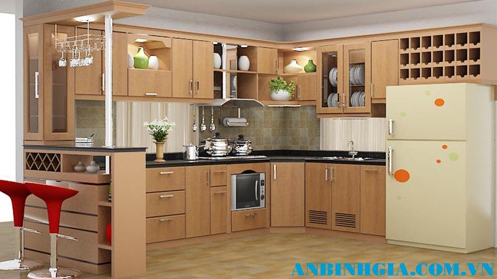 Tủ bếp gỗ veneer Sồi - MS 70