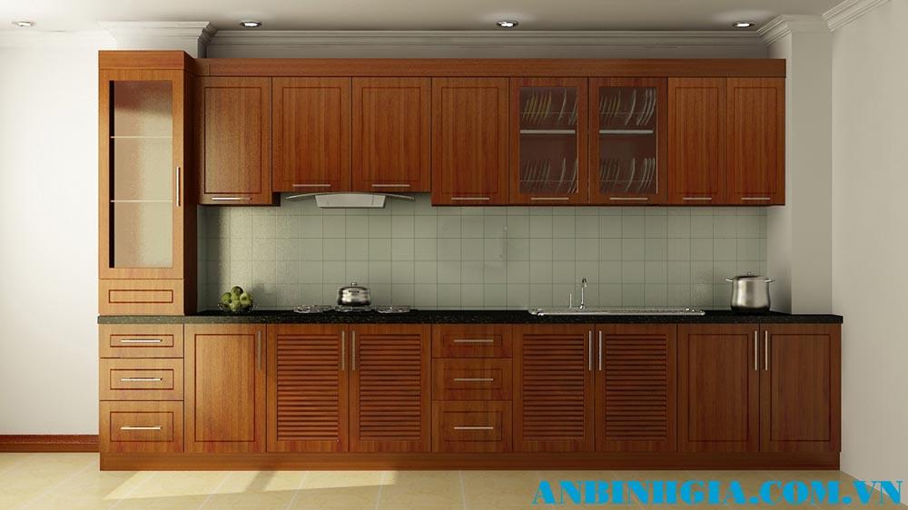 Tủ bếp gỗ Xoan Đào tự nhiên - MS 73
