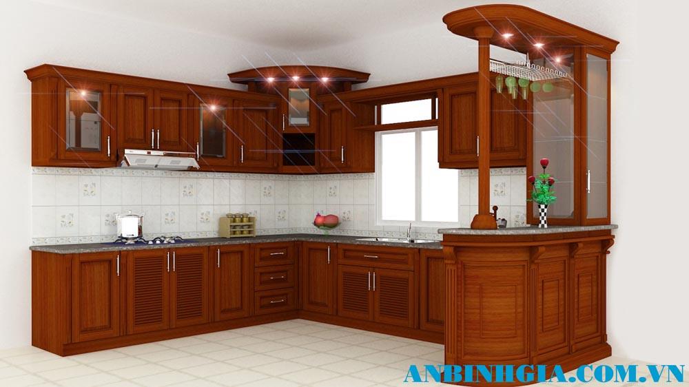 Tủ bếp liền quầy bar - MS 78