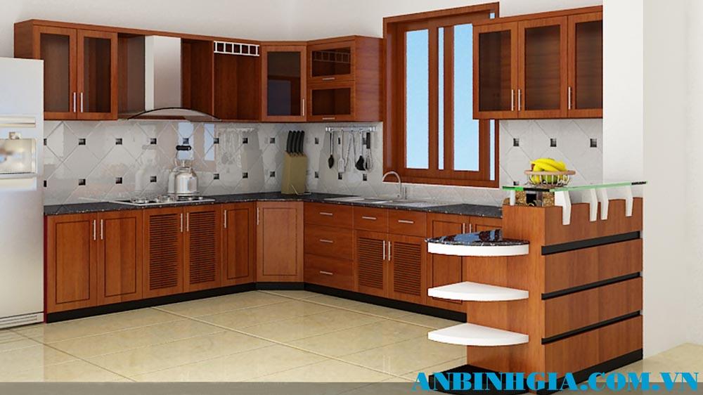 Tủ bếp quầy bar gỗ đẹp - MS 82