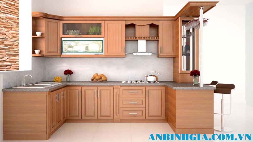 Tủ bếp quầy bar gỗ tự nhiên - MS 83