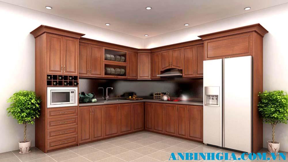 Tủ bếp veneer Căm Xe - MS 84