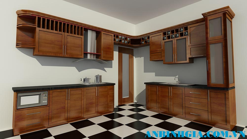 Tủ bếp veneer Xoan Đào - MS 86